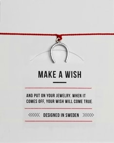 MAKE A WISH series: Red Horseshoe Silver Silk Bracelet