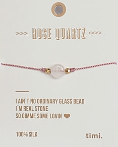 MAKE A WISH series: Single Stone Rose Quartz Silk Bracelet