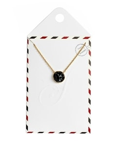LOVELY LETTER series: Gold Marble Black Stone