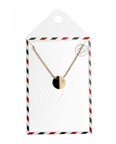 LOVELY LETTER series: Gold Marble Black Half Stone