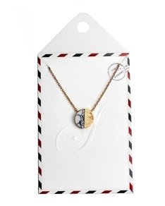 LOVELY LETTER series: Gold Marble White Half Stone