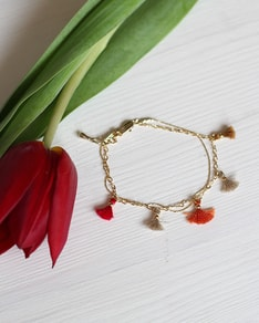 Gold Coral Charms bracelet