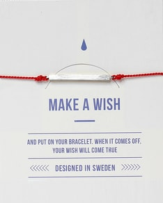 MAKE A WISH series: Red Bar Silver Silk Bracelet