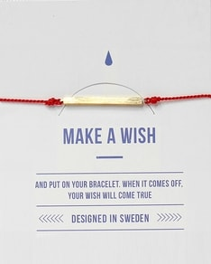 MAKE A WISH series: Red Bar Gold Silk Bracelet