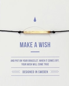 MAKE A WISH series: Black Bar Gold Silk Bracelet