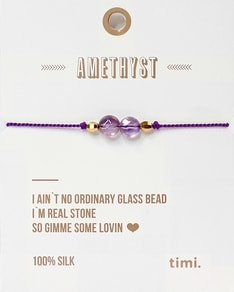 MAKE A WISH series: Single Stone Violet Amethyst Silk Bracelet