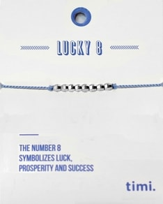 MAKE A WISH series: Blue Lucky 8 Silk Silver Bracelet