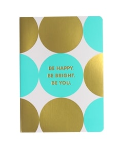 'Be Happy' Turquoise Journal