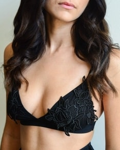 Black bra Flower Applique BeChick ❤