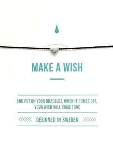 MAKE A WISH series: Black Heart Silver Silk Bracelet