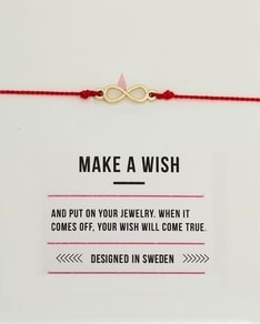 MAKE A WISH series: Red Infinity Gold Silk Bracelet