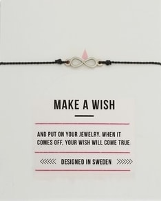MAKE A WISH series: Black Infinity Silver Silk Bracelet